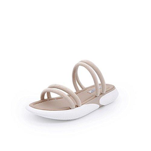 Sports Slippers Female Summer Wear Fashion Shoes Sandals (Color : Beige, Size : 6.0) Beige