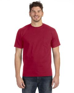 (Anvil Heavyweight Ringspun Pocket T-Shirt, Independence Red,)