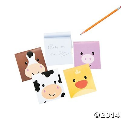 Blue Note Favor Set (Farm Barnyard Animal Face Mini Notepads - 24 pcs)