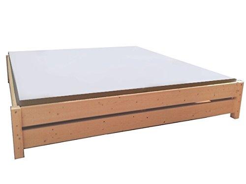 LIEGEWERK Premium Futon Bett Holz massiv Holzbett für hohe Matratzen 90 100 120 140 160 180 200 x 200cm hergestellt in BRD (200cm x 200cm)