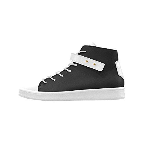D-story Rund Tå Hög Topp Skor Vita Och Svarta Kvinnor Sneakers