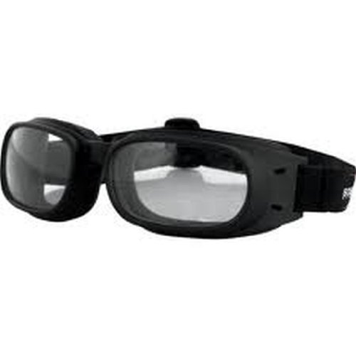 Bobster Piston Adult Harley Motorcycle Goggles Eyewear - Black/Clear / One Size Fits All