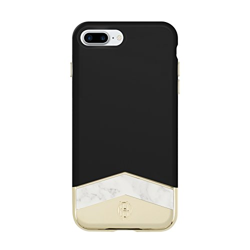 House of Harlow 1960 iPhone 7 Plus Case, Slider Case [Shock Absorbing] Cover fits Apple iPhone 7 Plus - Black/White Marble