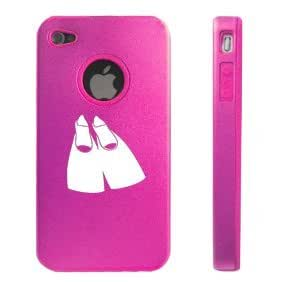 Apple iPhone 4 4S 4 Hot Pink D3141 Aluminum & Silicone Case Cover Flippers