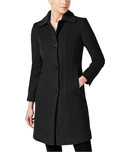 Anne Klein Womens Wool-Blend Coat, Black, 14
