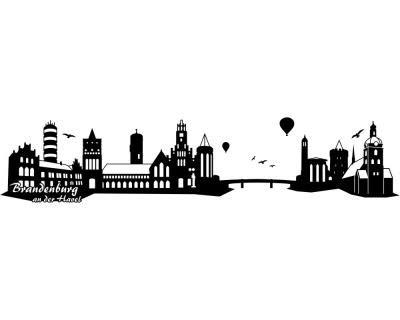 Samunshi® Wandtattoo Brandenburg an an an der Havel Skyline in 6 Größen und 19 Farben (240x51cm schwarz) B00IF4A8T6 Wandtattoos & Wandbilder 769684