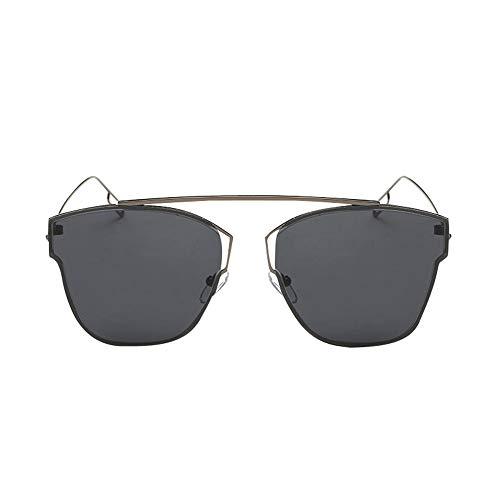 Mirrored Flat Lenses Metal Frame Unisex Sunglasses Madison Eyewear (Black, ()