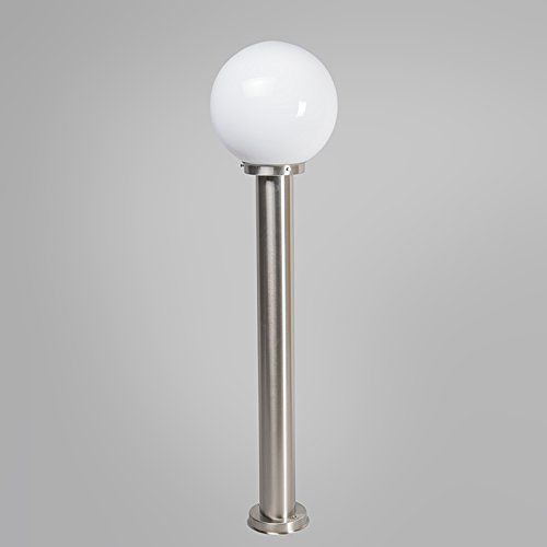 1 x Watt//Garden Lighting//Lights//Lamps QAZQA Modern Outdoor Pole//Bollard//Post Pole Sfera 100 Steel//Nickel Matt//Satin Polyester//Stainless Steel Round//Globe E27 Max