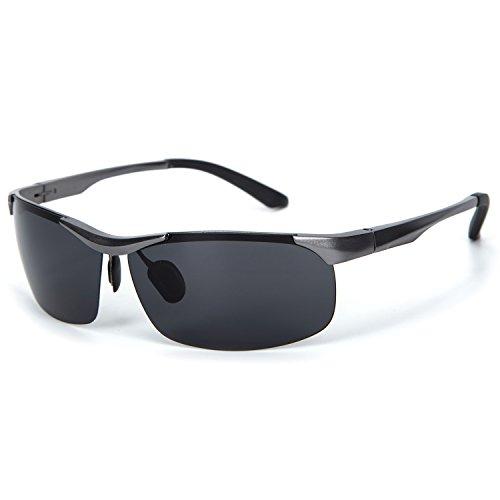 YJMILL New Aluminum magnesium Polarized Sunglasses Retro Pilots Riding Fishing Golf Travel Sports Sunglasses Men 8531 (gray, - De Armazones Lentes