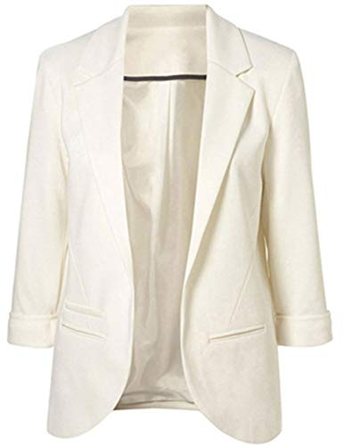 Lrady Womens Casual Blazer Open Front 3/4 Sleeve Notched Lapel Pocket Work Office Jacket Suit