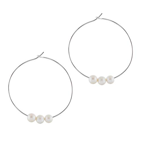 925 Sterling Silver Diamond Cut Hoop Earrings 8-8.5mm Round AA Quality Genuine Freshwater Cultured Sliding Pearls (White Trio, 2.00)