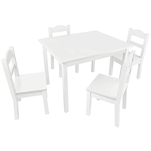 Pidoko Kids Wooden Table and Chairs Set White | Includes 4 Chairs and 1 Art Craft Study and Activity Table for Children | Educational Furniture and Picnic Table with Chairs (White) (Table Set And White Chairs)