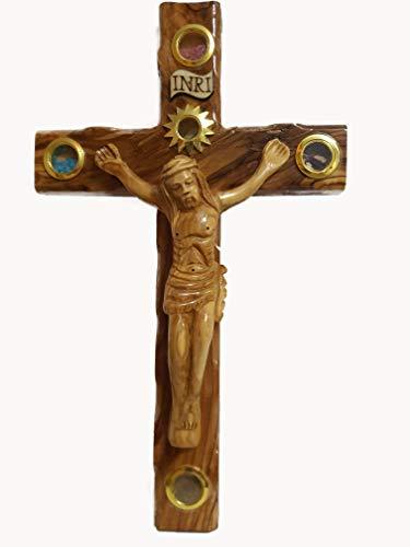 Bethlehem Gifts TM Handcarved from Bethlehem Olive Wood Cross Crucifix Lens Wooden Crucifix, 20