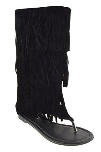 Anika 66 Womens Fringe Thong Flat Gladiator Sandals Black