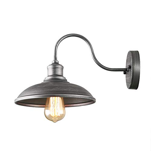 - Giluta Industrial Wall Sconce Light of Rustic Vintage Wall Lighting Fixture with Metal Shade Indoor Antique Edison Slivery Style and Retro Look Wall lamp for Living Room Bedroom Bathroom Farmhouse