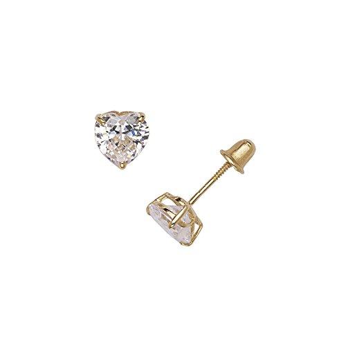 14k Yellow Gold Heart-shaped Cubic Zirconia CZ Screw-back Stud Earrings (4-6mm) (4MM) ()
