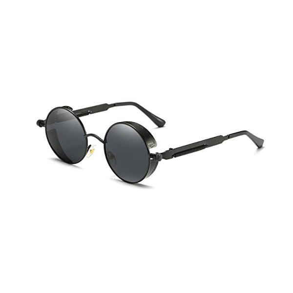 Ronsou Steampunk Style Round Vintage Polarized Sunglasses Retro Eyewear UV400 Protection Matel Frame 3