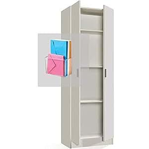 Hogar Decora Armario Blanco Multiusos Dos Puertas con Estantes, Incluido Caja de almacenaje autoadhesiva