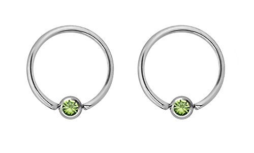 Pair of 16g 10mm Every-Day Surgical Steel Green Jeweled Captive Bead Ring Body Piercing - Captive Jeweled Ring