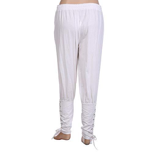 Ocasionales Otoño Joggers Sólido Cordones Recto Moda es con La Color para Blanco Chándal Casuales Laborales MúLtiples Hombre ALIKEEY Hombre 4cCRqxpBc