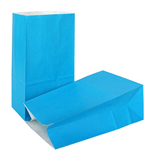KEYYOOMY Small Paper Bags 24 CT Blue Printed Party Favor Bags for Wedding Shower Kid's Birthday Party(9.4X 5.1x 3.1 in)]()
