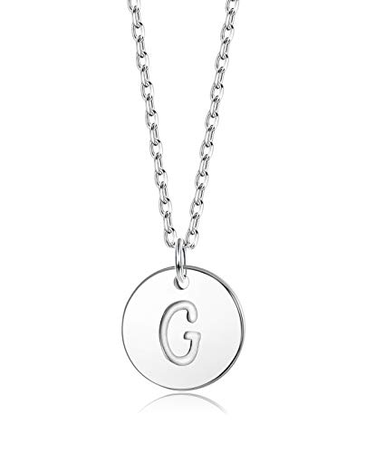 Sllaiss Initial Pendant Necklace Round Disc Engraved Letter Pendant 925 Sterling Silver Personalized Alphabet Pendant for Women Girls Teen (G)
