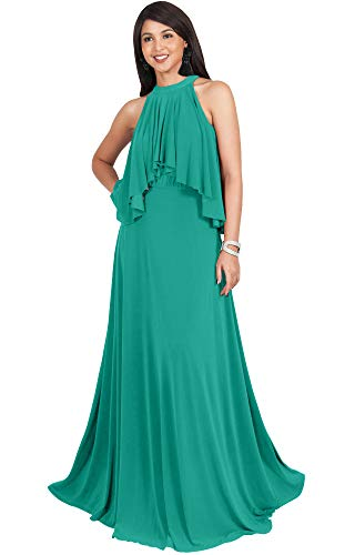 KOH KOH Plus Size Womens Long Sleeveless Halter Neck Flowy Bridesmaid Bridal Cocktail Spring Summer Beach Wedding Party Guest Floor-Length Gown Gowns Maxi Dress Dresses, Turquoise 3XL 22-24