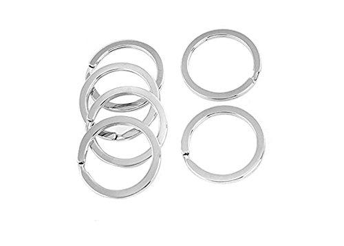50PCS 30MM Silver Stainless Steel Round Key Rings Flat Split Keychain Keys Holder for DIY Hand Arts Craft ()