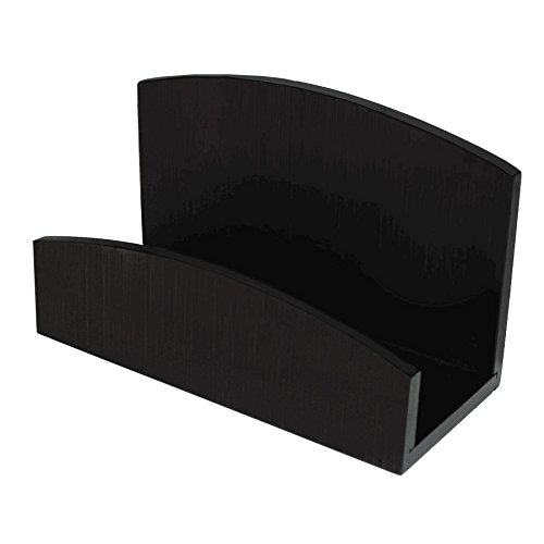 Artistic Sustainable Bamboo Curves Business Card Holder, Black Coffee - Business Executive Green Cards