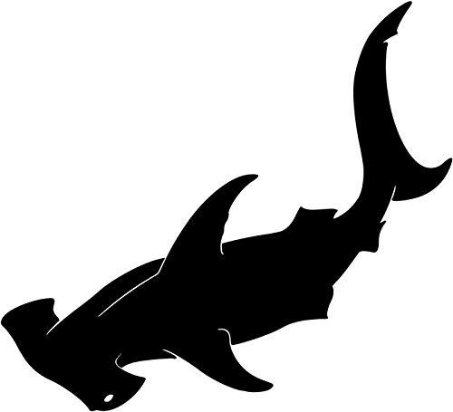 (BEARGRAPHIX Hammerhead Shark Animal Decal Sticker Decor Car Motorcycle Truck Bumper Window Laptop Wall Décor Size- 6 Inch Wide Gloss Black Color)