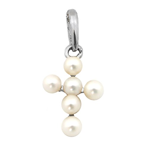 - Beauniq 14k White Gold White Round Freshwater Cultured Pearl Cross Pendant Necklace - Pendant only