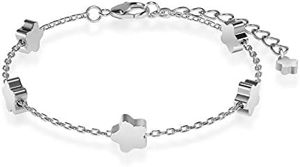 Flower Chain Bracelet: Silver Dainty Classy Adjustable Bracelet For Girls Women Jewelry Gifts