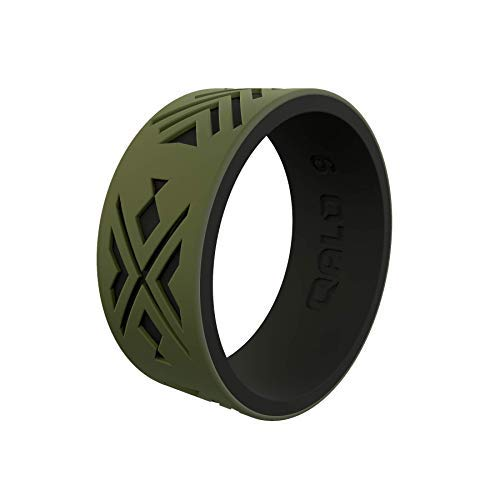 QALO Men's Strata Arrowhead and Fish Silicone Ring, Two Tone and Dual Layered - Olive and Black, Size 13