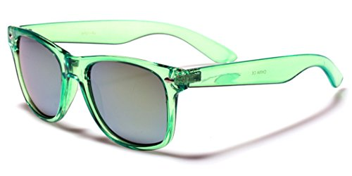 Retro 80's Fashion Sunglasses - Colorful Neon Translucent Frame - Mirrored Lens - Lime