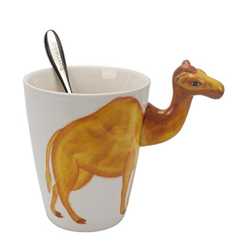Novelty Funny Hand Painted Coffee Mug - Camel 3D Handle Handmade Large 15 oz Porcelain Tea Cup Unique Ideal Gifts