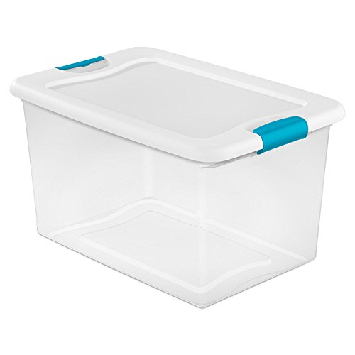 Sterilite 64 Quart Latching Plastic Storage Box, Clear w/ Blue Latches (24 Pack) by STERILITE (Image #1)