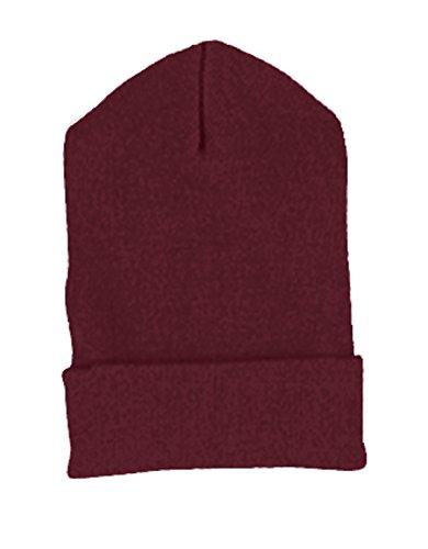 Yupoong Cuffed Knit Cap (1501)- Maroon,One - Cuffed 1501 Knit Cap Yupoong
