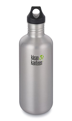 Klean Kanteen Classic Stainless Steel Single Wall Water Bottle with Leak Proof Loop Cap - 40oz - Brushed Stainless ()