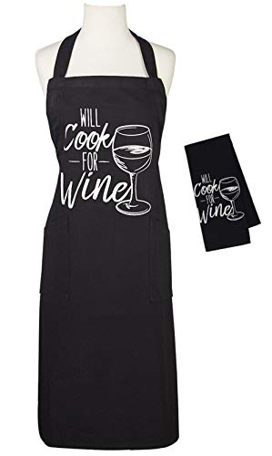 Will Cook for Wine Chef's Apron and Dishtowel Set - Funny Mother's Day, Birthday, Hostess, Housewarming Gift Idea -