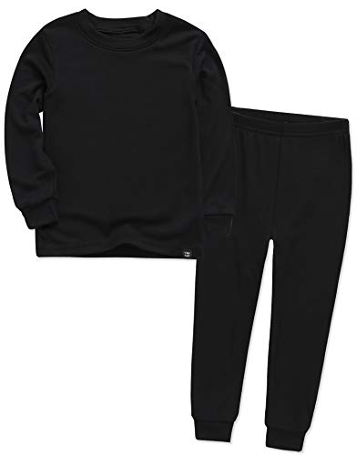 VAENAIT BABY Kids Long Sleeve Modal Sleepwear Pajamas 2pcs Set Modal Black L
