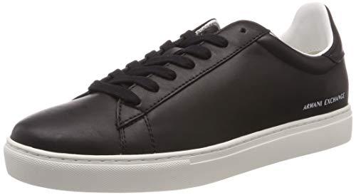 A|X Armani Exchange Men's Low Rise Leather Lace Up Sneaker Black, 11 M US