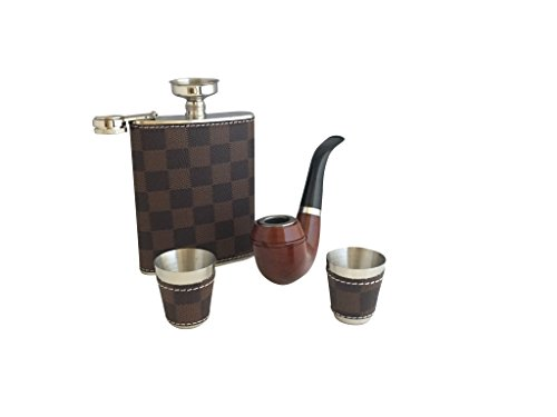 Modern flask for Men-Hip Hydro Liquor flasks for groomsmen flask-Flask Set with vintage smoke pike,2 shot glass cups + funnel-Leather Pewter Flasks for women-Whiskey Blue Purple Irish Rum Flask - Pink Flask Only Ladies Leather