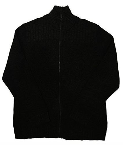Calvin Klein Full Zip Cable Knit Ribbed Sweater for Men (L, Black)
