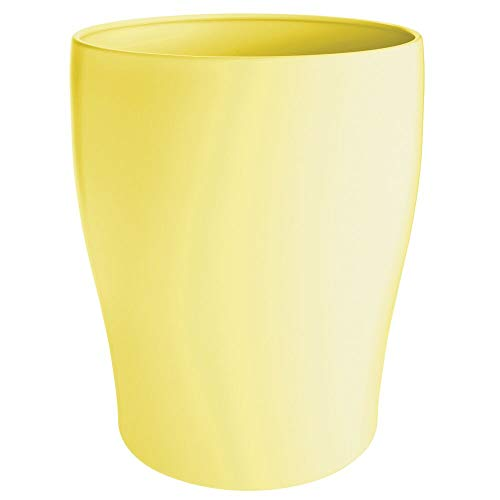 mDesign Modern Round Metal Small Trash Can Wastebasket, Garbage Container Bin for Storing and Holding Waste in Bathroom, Kitchen, Home Office, Craft Room, Laundry Room - Solid Steel - Light Yellow (Yellow Trash Can For Bedroom)