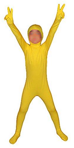 [Seeksmile Kids Costume Full Body Lycra Zentai Suit Face Open (Kids Small, Yellow)] (Yellow Power Ranger Costumes Child)