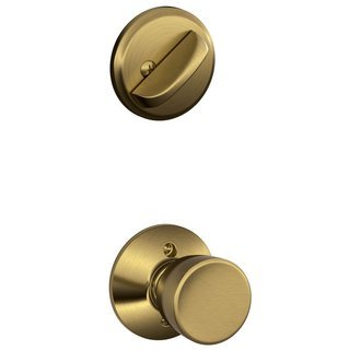 Schlage F59-BEL-609 Antique Brass Bell Knob and Deadbolt with Regular Rose (Interior Half - Bel 609 Bell