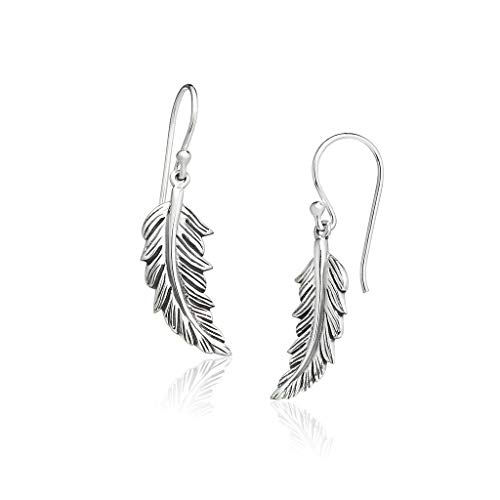 Big Apple Hoops - Genuine Oxidized 925 Sterling Silver ''Beauty of Nature'' Lively Feather Dangle Hook Earrings Delicate and Perfect Design | in Beautiful Polish Finish