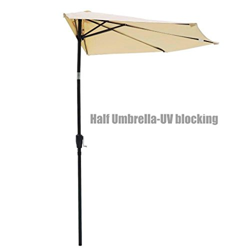 New UV blocking 10ft Half Umbrella Patio Outdoor Bistro Wall Balcony Wall Window Sun Shade Opt/ Beige #351a (Balcony Miami Furniture)