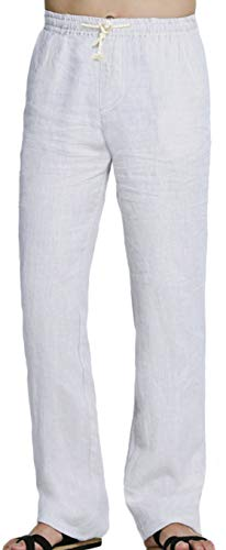 Youhan Men's Fitted Elastic Waistband Cotton Linen Pants with Drawstring (Large, White)