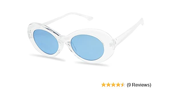 65d586c539 Amazon.com  White Oval Clout Goggles Bold Retro Thick MOD 51mm Round Lens  Sunglasses (Clear